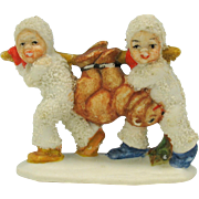 Vintage snowed German bisque snow baby cake decoration 2 with bear on pole!