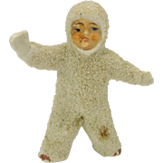 Vintage large German snowed bisque Snow baby standing and waving 3""