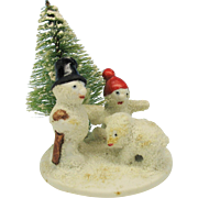 Vintage snowed German bisque cake decoration scene-2 snow men and baby snowed bear