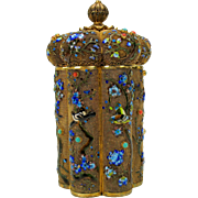 Vintage Chinese silver gilt stone set enamel tea caddy with birds coral & turquoise cabochons