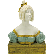 Paul Louchet French porcelain Lady bust on bronze base by Leon Delagrange 1872-1910