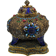 Vintage Chinese silver gilt enamel lidded jeweled box or potpourri jar
