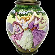 Art Nouveau enamel cabinet vase featuring 3 Ladys dancing