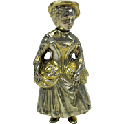 "Vintage 800 silver figural Lady shaker with gilded highlights  4 1/2"" tall"