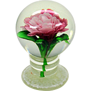 Millville pedestal glass paperweight with pink flower