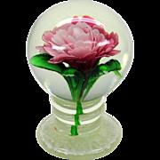 Millville pedestal glass paperweight with pink flower