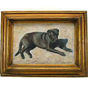Vintage oil painting on board of a Black Lab dog in snow by Stere Grant