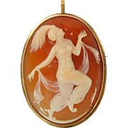 Carved shell cameo pendant brooch of Ida Rubenstein  Nijinsky ballet 10k