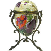 French pottery egg shaped dresser box with bronze mounts signed G. Lemonnier Poppies