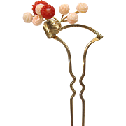 Vintage Hair ornament pin with carved coral flowers Old store stock #3