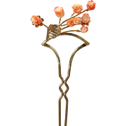 Vintage Hair ornament pin with carved coral flowers Old store stock #4