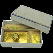 Antique ormolu and enamel desk set original box blotter, stamp box and letter opener