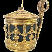 Victorian fancy brass string holder box or pot with original bronze handled scissors