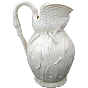 "Finest antique parian porcelain figural Swan pitcher 10"" tall"