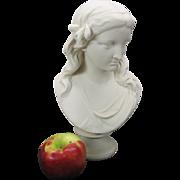 """Signed Copeland parian porcelain bust titled """"Spring"""" 12"""" 1870"""