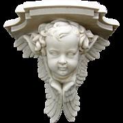Incredible large 3D Cherub head Parian porcelain wall shelf circa 1860