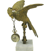 Large antique bronze parrot on stand watch holder with snake hook