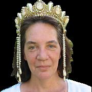 Cameo, crystal and faux pearl tiara Theatrical head dress Sarah Bernhardt