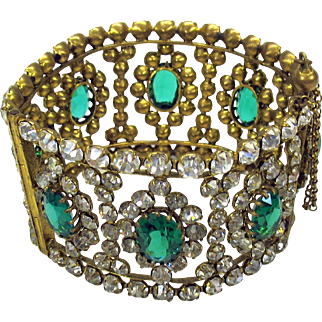 Big vintage Czech costume cuff bracelet with paste & green glass stones