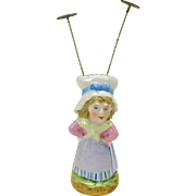 19th Century figural porcelain hatpin holder-Maid in mob cap
