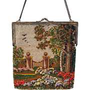 Vintage micro bead Ladies purse with a Garden scene