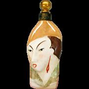Art Deco figural Ladies head porcelain perfume bottle