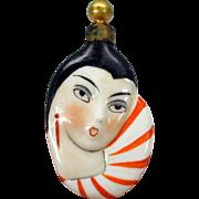 Fabulous Art Deco figural porcelain perfume bottle Ladies head