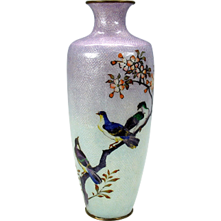 Big Ando Jubei fish scale cloisonne silver wire vase decorated like a watercolor painting