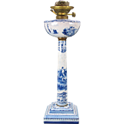 Antique French faience Dutch delft type banquet oil lamp blue & white