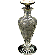 American sterling silver and guilloche enamel engraved glass perfume bottle