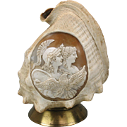 Complete shell lamp with carved cameo of with God and Goddess & eagle