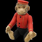 Big vintage Schuco Yes/No dressed Monkey Bellhop toy