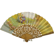 Hand painted French Ladies fan-couple with begging dog