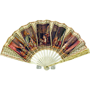 Unusual antique French paper advertising fan with classical erotic images Monte Carlo
