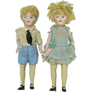 Pair of all original all bisque dolls Brother and sister 4""