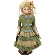 """Bisque swivel neck Kestner doll with closed mouth stunning original outfit 14"""""""