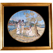 Big 1800's American New England painted silk embroidered picture sampler Pastoral scene
