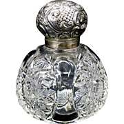 Large antique cut glass & sterling silver perfume bottle for a dresser