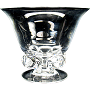 Large vintage Steuben crystal glass bowl with fleur de lis feet