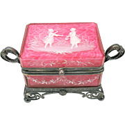 Antique pink Mary Gregory cased glass and silver plated dresser casket box