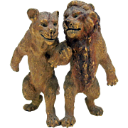 Great antique cold painted Vienna bronze-Lion strolling arm in arm with Lioness