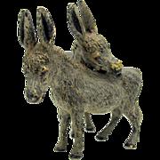 Antique cold painted Austrian bronze figure 2 Donkeys snuggling