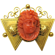 Victorian 14k gold and coral portrait cameo brooch pin