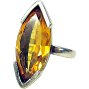 Vintage Mid Century Modern citrine and sterling silver ring size 6.5