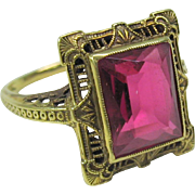 Antique 14k gold and pink Tourmaline ring size 6.5