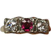 Antique 14k Diamond and ruby ring size 5 3/4