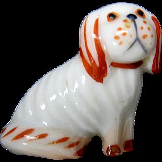 Adorable vintage Metzler & Ortloff porcelain Dog brooch pin 1900's
