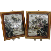 Pair of vintage Chinese porcelain painted plaques-signed in Bamboo frames