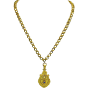 Victorian 14k Etruscan locket on large 14k chain