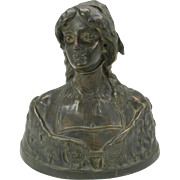 Larger Art Nouveau bronze bust of Desdemona by M. LeBlanc France